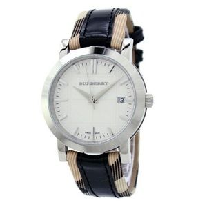 Burberry Ladies Classic Nova Check Leather Strap